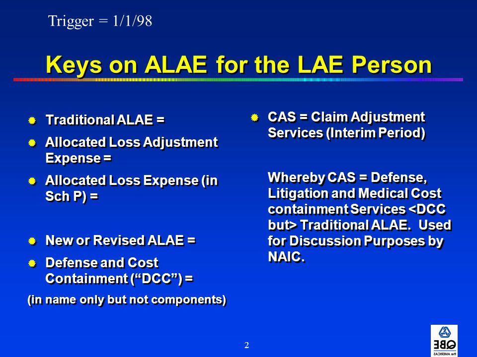 13 Exhibit I NAIC Change (cont'd) Outside Experts ALAE or ULAE ALAE but mostly ALAE Inside Experts ULAE or ALAE ALAE but mostly ULAE Attorney Engaging in ALAE or ULAE ULAE Adjusting Work MAJOR EXPENSEOLD ALAE/ULAENEW ALAE/ULAE METHOD METHOD 1998 (Cheat Sheet)