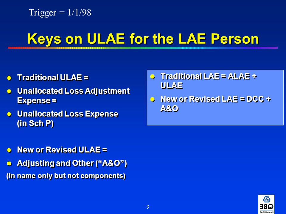 3 Keys on ULAE for the LAE Person  Traditional ULAE =  Unallocated Loss Adjustment Expense =  Unallocated Loss Expense (in Sch P)  New or Revised