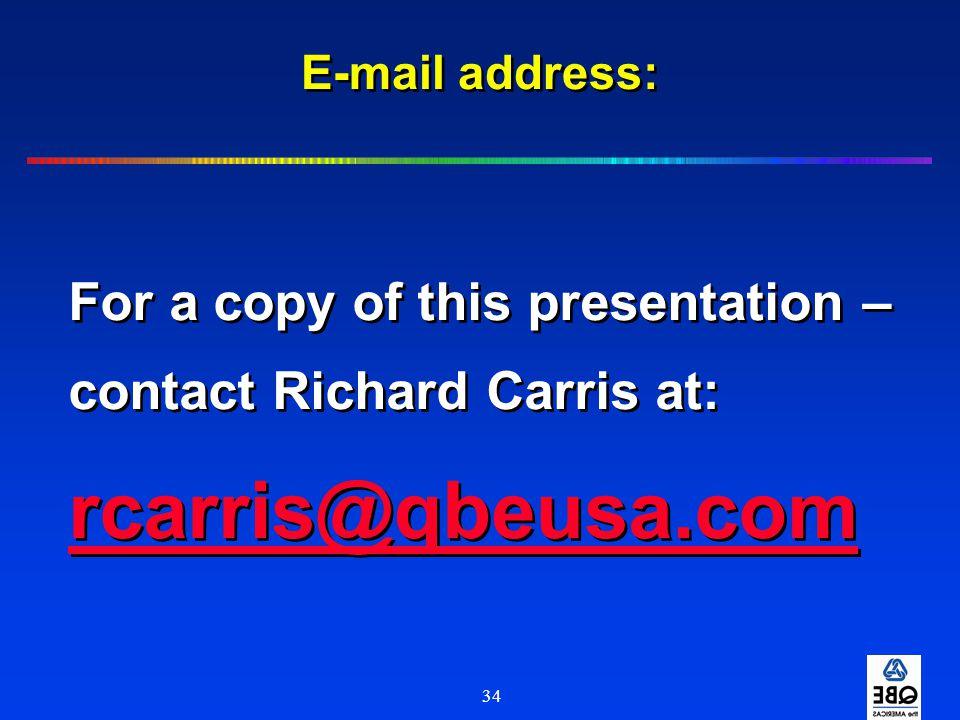 34 E-mail address: For a copy of this presentation – contact Richard Carris at: rcarris@qbeusa.com For a copy of this presentation – contact Richard C