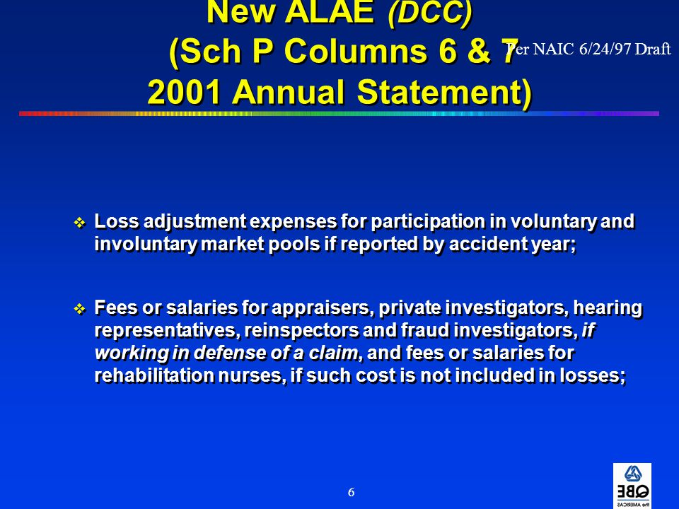 6 New ALAE (DCC) (Sch P Columns 6 & 7 2001 Annual Statement)  Loss adjustment expenses for participation in voluntary and involuntary market pools if