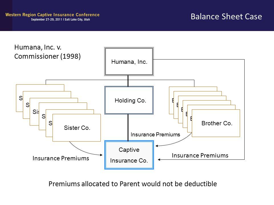 Balance Sheet Case Humana, Inc. Holding Co. Captive Insurance Co. Brother Co. Sister Co. Insurance Premiums Brother Co. Sister Co. Insurance Premiums