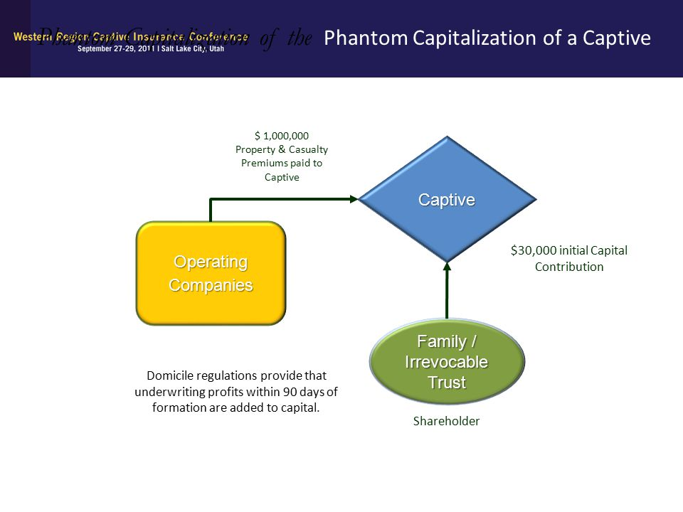 Captive Family / Irrevocable Trust Shareholder Phantom Capitalization of the Phantom Capitalization of a Captive Operating Companies $ 1,000,000 Prope