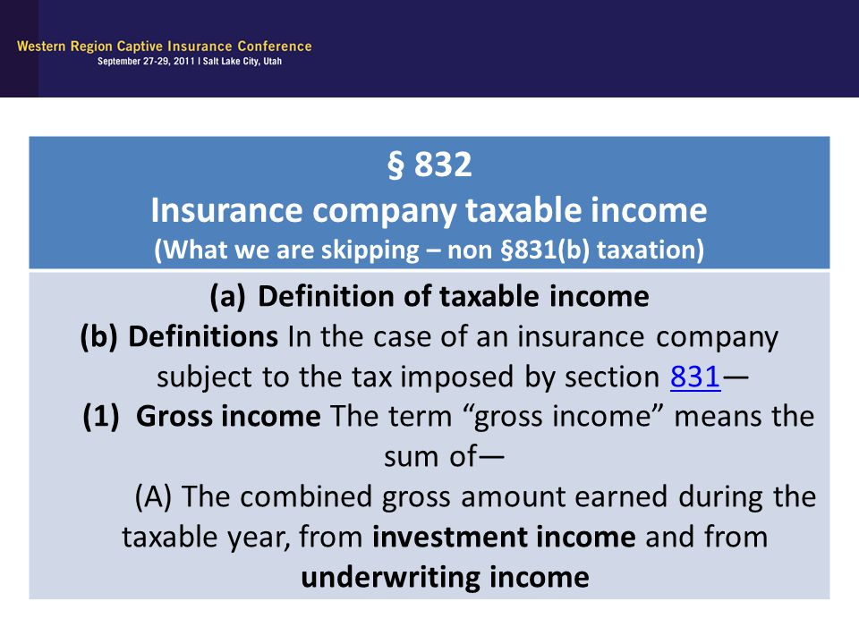 § 832 Insurance company taxable income (What we are skipping – non §831(b) taxation) (a)Definition of taxable income (b)Definitions In the case of an