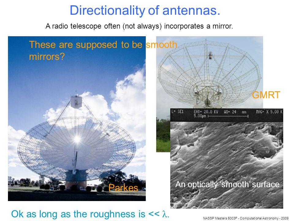 NASSP Masters 5003F - Computational Astronomy - 2009 Directionality of antennas.