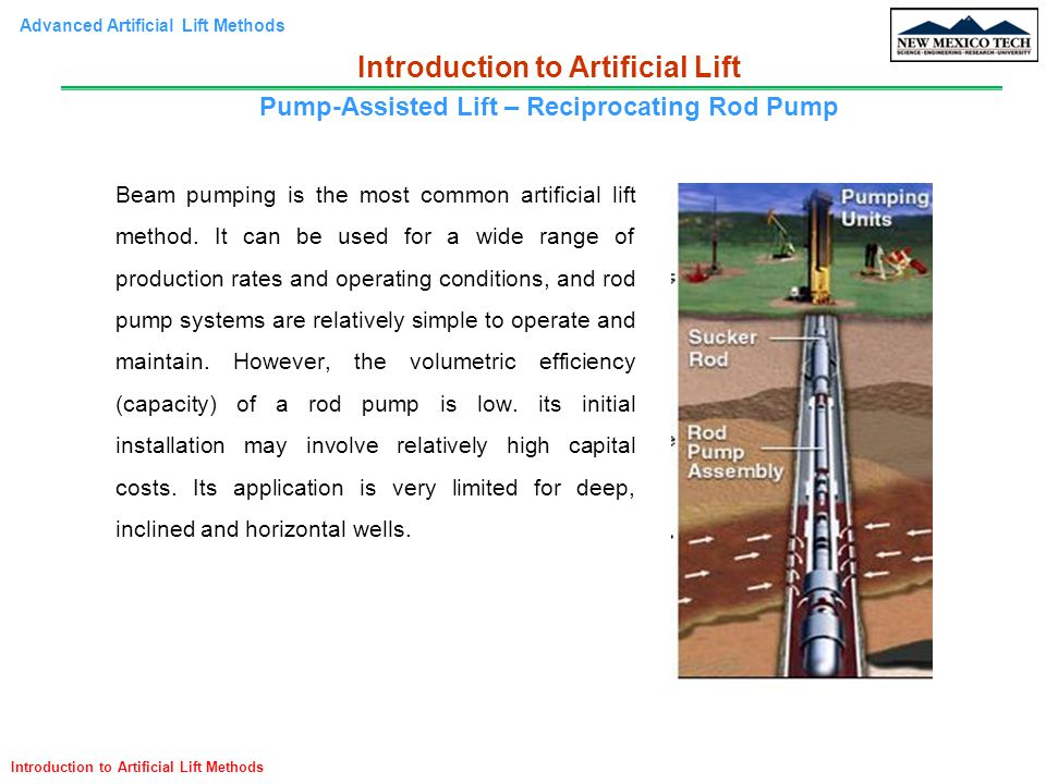 Advanced Artificial Lift Methods Introduction to Artificial Lift Methods Beam pumping is the most common artificial lift method. It can be used for a
