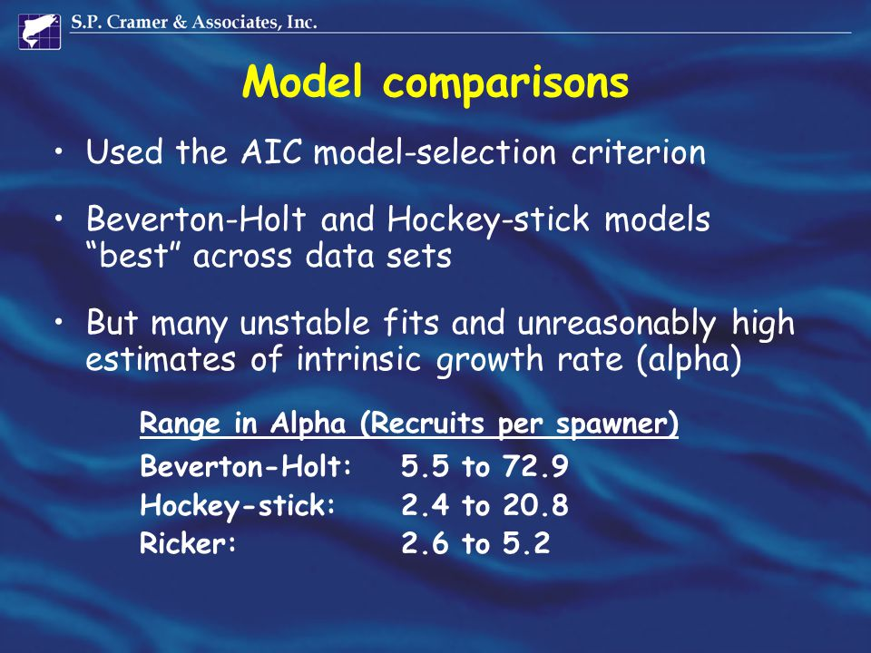 """Model comparisons Used the AIC model-selection criterion Beverton-Holt and Hockey-stick models """"best"""" across data sets But many unstable fits and unre"""