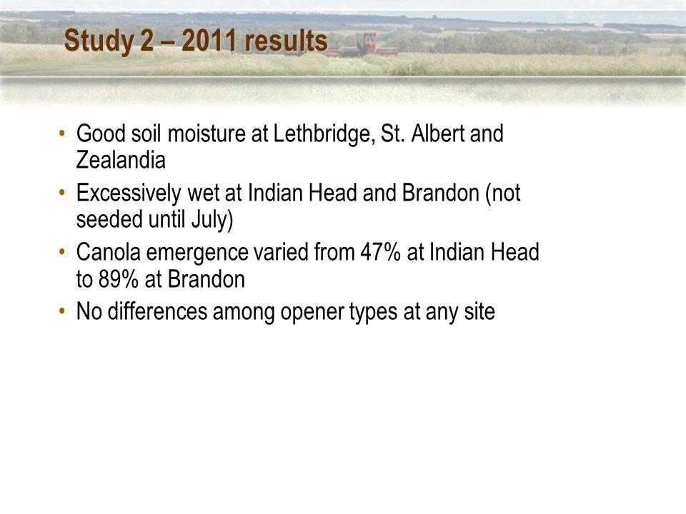 Study 2 – 2011 results Good soil moisture at Lethbridge, St.