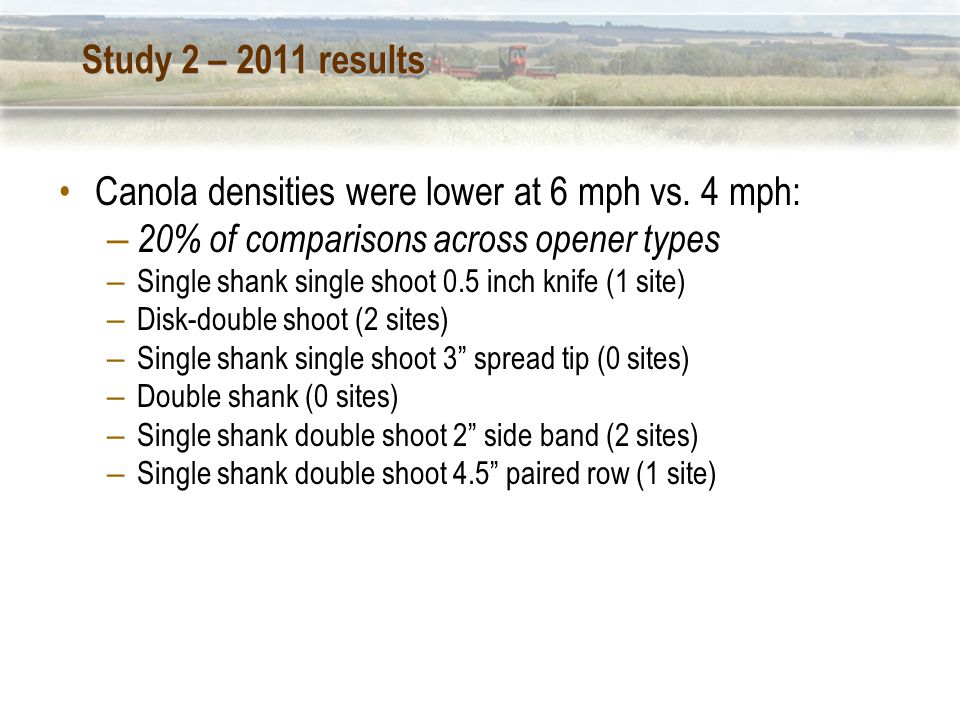 Study 2 – 2011 results Canola densities were lower at 6 mph vs.