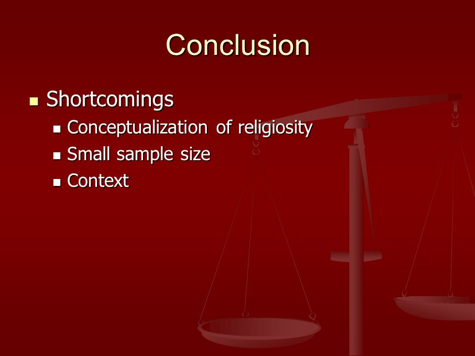 Conclusion Shortcomings Shortcomings Conceptualization of religiosity Conceptualization of religiosity Small sample size Small sample size Context Con