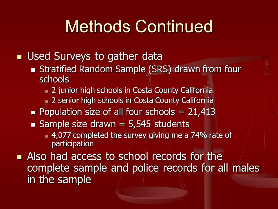 Methods Continued Used Surveys to gather data Used Surveys to gather data Stratified Random Sample (SRS) drawn from four schools Stratified Random Sample (SRS) drawn from four schools 2 junior high schools in Costa County California 2 junior high schools in Costa County California 2 senior high schools in Costa County California 2 senior high schools in Costa County California Population size of all four schools = 21,413 Population size of all four schools = 21,413 Sample size drawn = 5,545 students Sample size drawn = 5,545 students 4,077 completed the survey giving me a 74% rate of participation 4,077 completed the survey giving me a 74% rate of participation Also had access to school records for the complete sample and police records for all males in the sample Also had access to school records for the complete sample and police records for all males in the sample