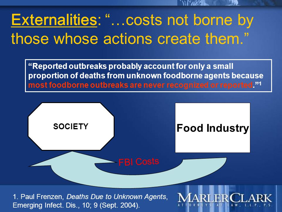 "20 Externalities: ""…costs not borne by those whose actions create them."" ""Reported outbreaks probably account for only a small proportion of deaths fr"