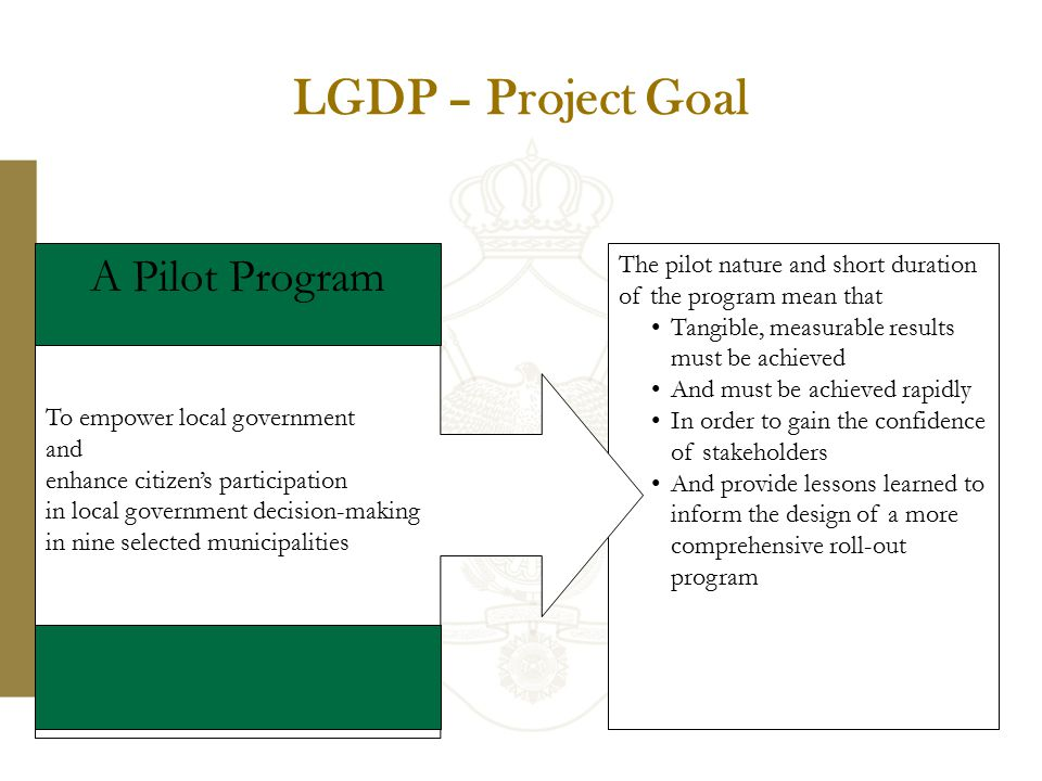 LGDP – Project Goal 13 The pilot nature and short duration of the program mean that Tangible, measurable results must be achieved And must be achieved rapidly In order to gain the confidence of stakeholders And provide lessons learned to inform the design of a more comprehensive roll-out program To empower local government and enhance citizen's participation in local government decision-making in nine selected municipalities A Pilot Program