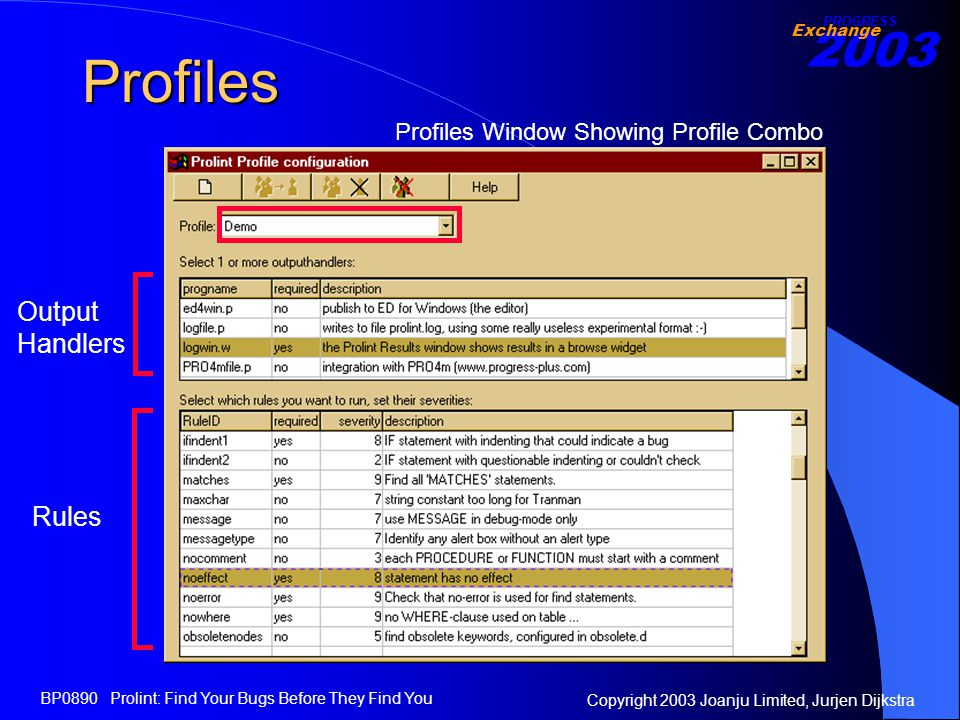 2003 Exchange PROGRESS Copyright 2003 Joanju Limited, Jurjen Dijkstra BP0890 Prolint: Find Your Bugs Before They Find You Profiles Profiles Window Showing Profile Combo Output Handlers Rules