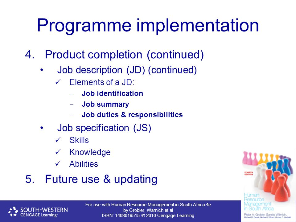 For use with Human Resource Management in South Africa 4e by Grobler, Wärnich et al ISBN: 1408019515 © 2010 Cengage Learning Programme implementation 4.Product completion (continued) Job description (JD) (continued) Elements of a JD:  Job identification  Job summary  Job duties & responsibilities Job specification (JS) Skills Knowledge Abilities 5.Future use & updating