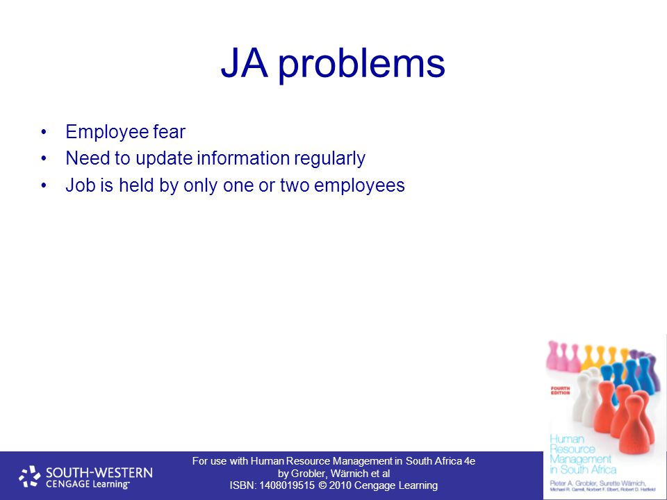 For use with Human Resource Management in South Africa 4e by Grobler, Wärnich et al ISBN: 1408019515 © 2010 Cengage Learning JA problems Employee fear Need to update information regularly Job is held by only one or two employees