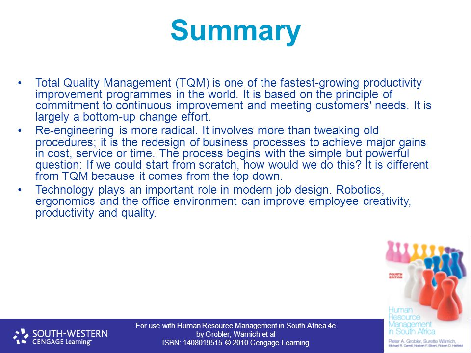 For use with Human Resource Management in South Africa 4e by Grobler, Wärnich et al ISBN: 1408019515 © 2010 Cengage Learning Summary Total Quality Management (TQM) is one of the fastest-growing productivity improvement programmes in the world.