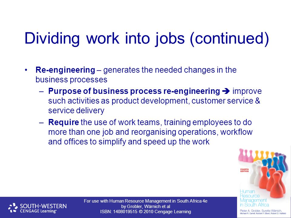 For use with Human Resource Management in South Africa 4e by Grobler, Wärnich et al ISBN: 1408019515 © 2010 Cengage Learning Dividing work into jobs (continued) Re-engineering – generates the needed changes in the business processes –Purpose of business process re-engineering  improve such activities as product development, customer service & service delivery –Require the use of work teams, training employees to do more than one job and reorganising operations, workflow and offices to simplify and speed up the work