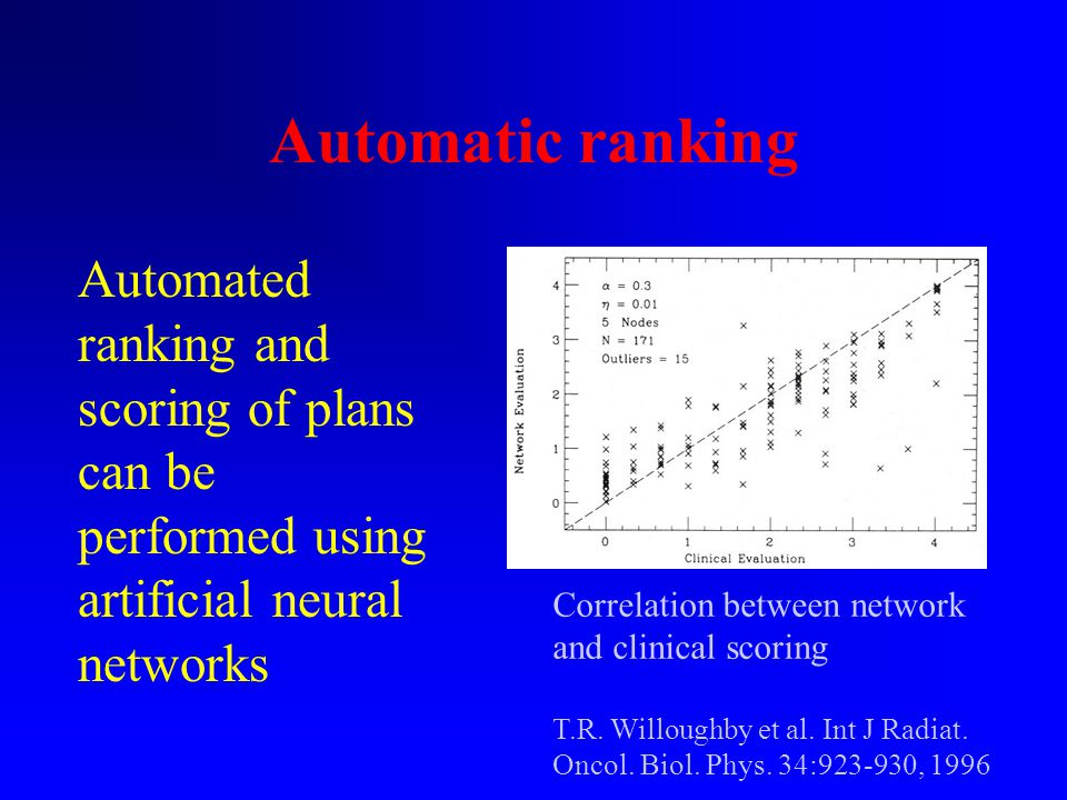 Automatic ranking Automated ranking and scoring of plans can be performed using artificial neural networks Correlation between network and clinical scoring T.R.