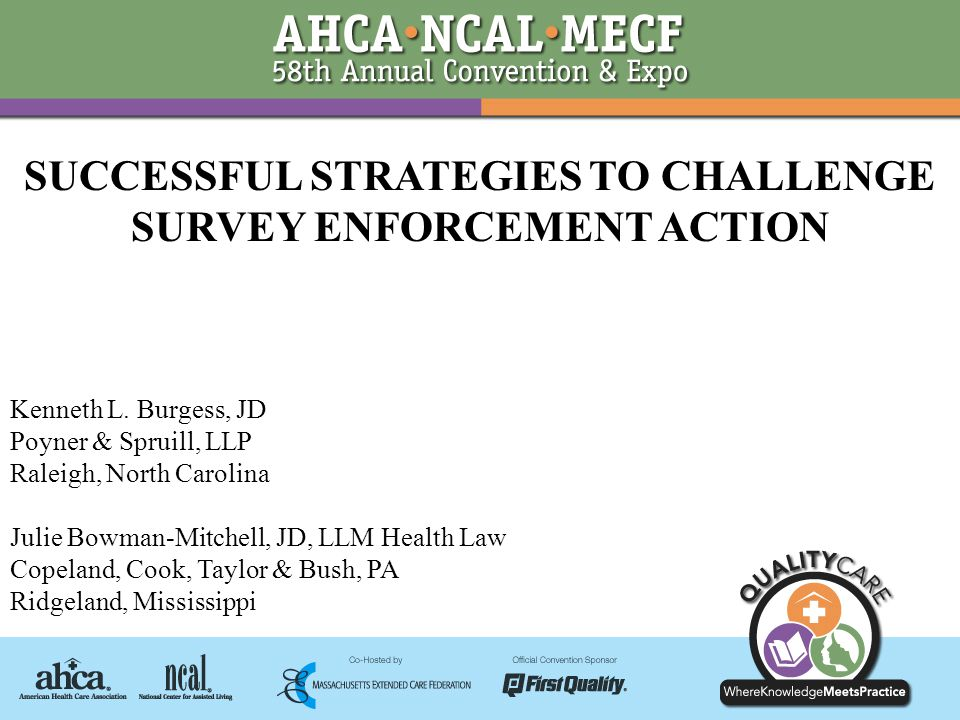 SUCCESSFUL STRATEGIES TO CHALLENGE SURVEY ENFORCEMENT ACTION Kenneth L.