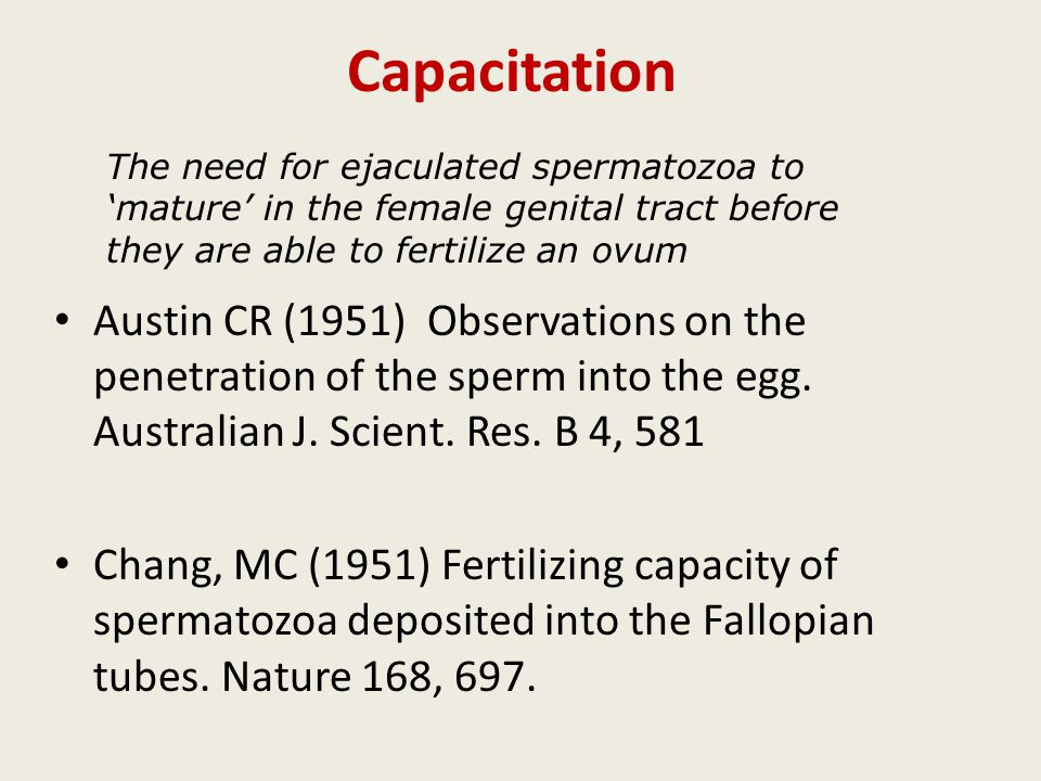 Capacitation Austin CR (1951) Observations on the penetration of the sperm into the egg. Australian J. Scient. Res. B 4, 581 Chang, MC (1951) Fertiliz