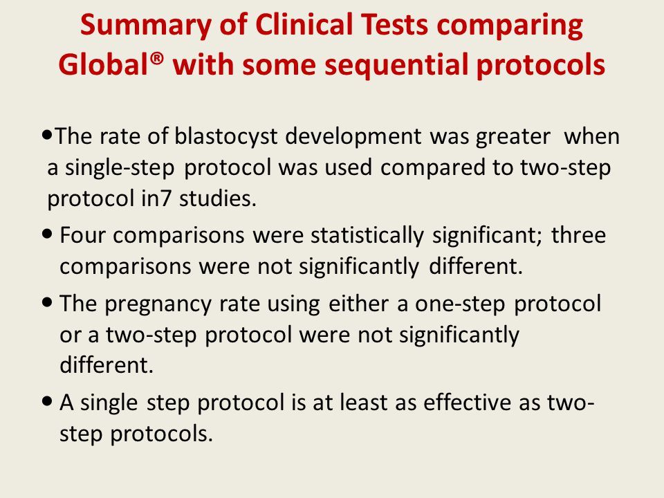 Summary of Clinical Tests comparing Global® with some sequential protocols The rate of blastocyst development was greater when a single-step protocol was used compared to two-step protocol in7 studies.