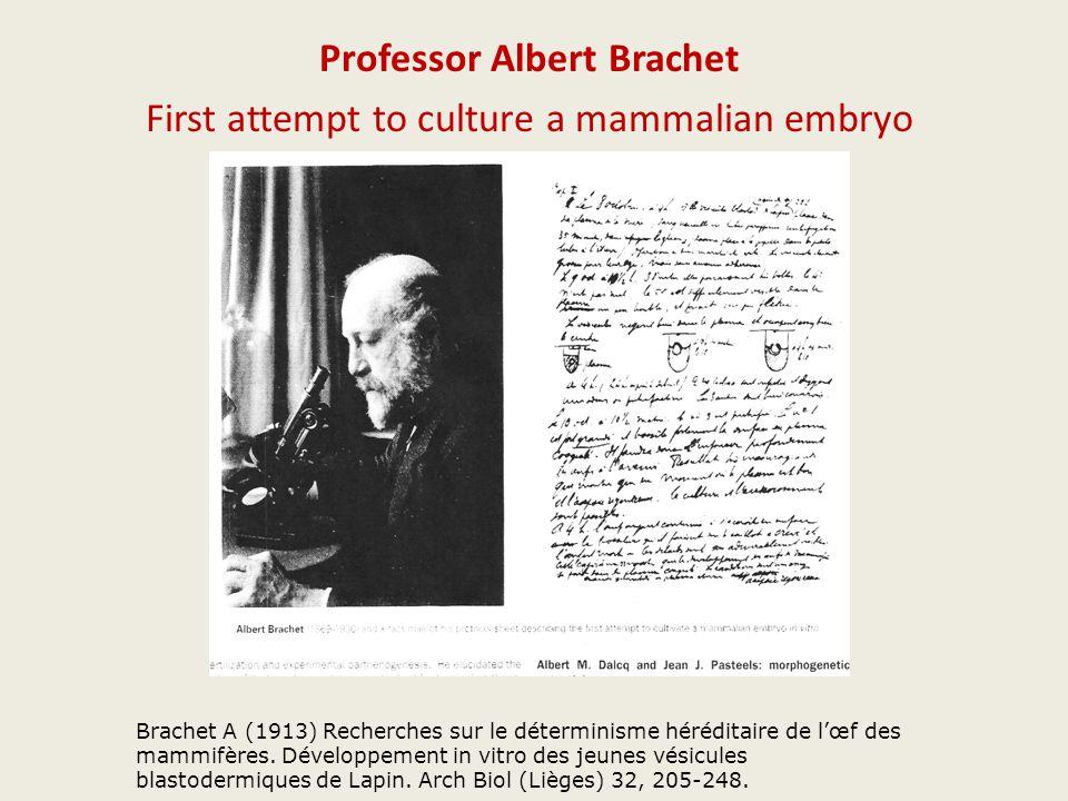 Professor Albert Brachet First attempt to culture a mammalian embryo Brachet A (1913) Recherches sur le déterminisme héréditaire de l'œf des mammifères.