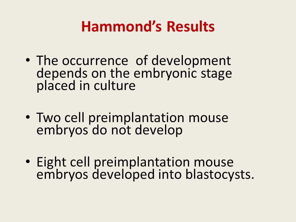 Hammond's Results The occurrence of development depends on the embryonic stage placed in culture Two cell preimplantation mouse embryos do not develop