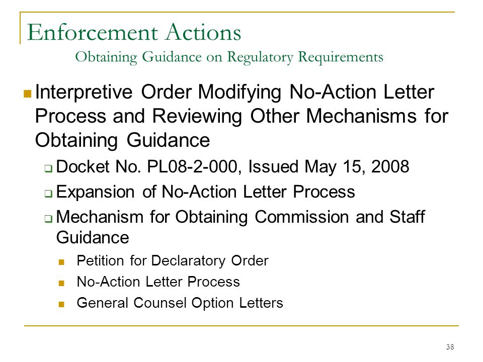 38 Enforcement Actions Obtaining Guidance on Regulatory Requirements Interpretive Order Modifying No-Action Letter Process and Reviewing Other Mechani