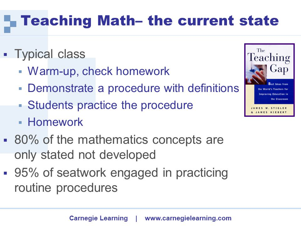 Carnegie Learning | www.carnegielearning.com Teaching Math– the current state  Typical class  Warm-up, check homework  Demonstrate a procedure with definitions  Students practice the procedure  Homework  80% of the mathematics concepts are only stated not developed  95% of seatwork engaged in practicing routine procedures