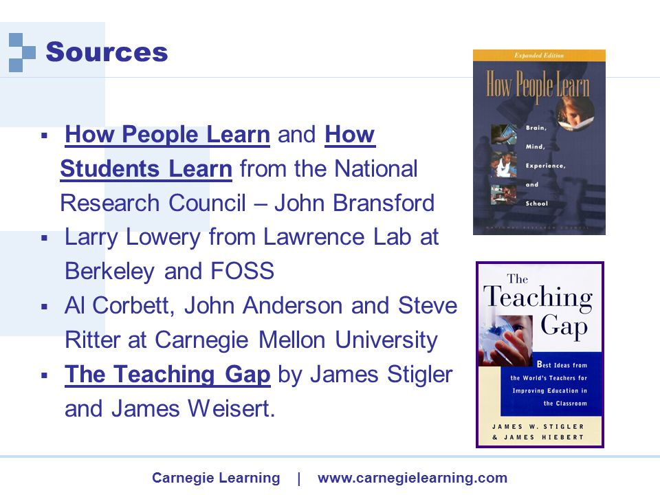 Carnegie Learning | www.carnegielearning.com How People Learn research  Learners use what they already know to construct new understandings.