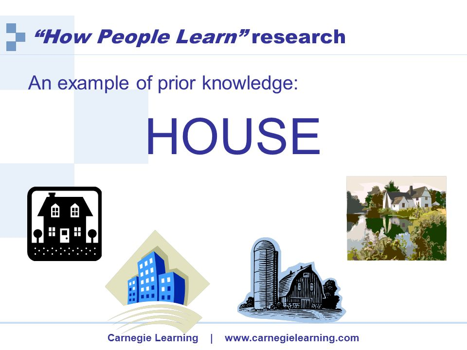 Carnegie Learning | www.carnegielearning.com How People Learn research  Learning with understanding is enhanced when new knowledge is built on the major concepts of a discipline.