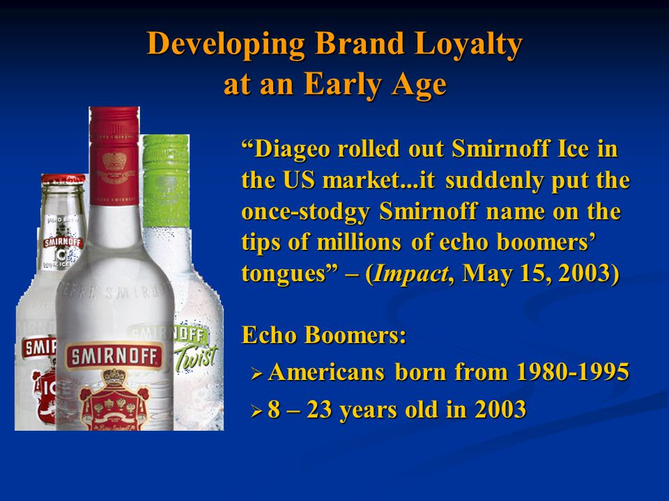 Diageo: Competing with Beer Beer has significant marketing advantages over distilled spirits particularly for young drinkers: Advertising on all electronic media Advertising on all electronic media Significantly lower tax rates Significantly lower tax rates Greater number of retail outlets Greater number of retail outlets