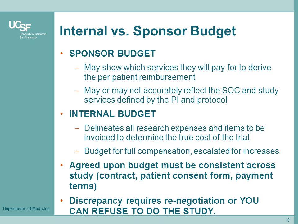 Department of Medicine Internal vs.