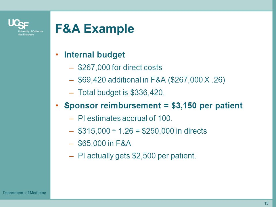 Department of Medicine F&A Example Internal budget –$267,000 for direct costs –$69,420 additional in F&A ($267,000 X.26) –Total budget is $336,420. Sp