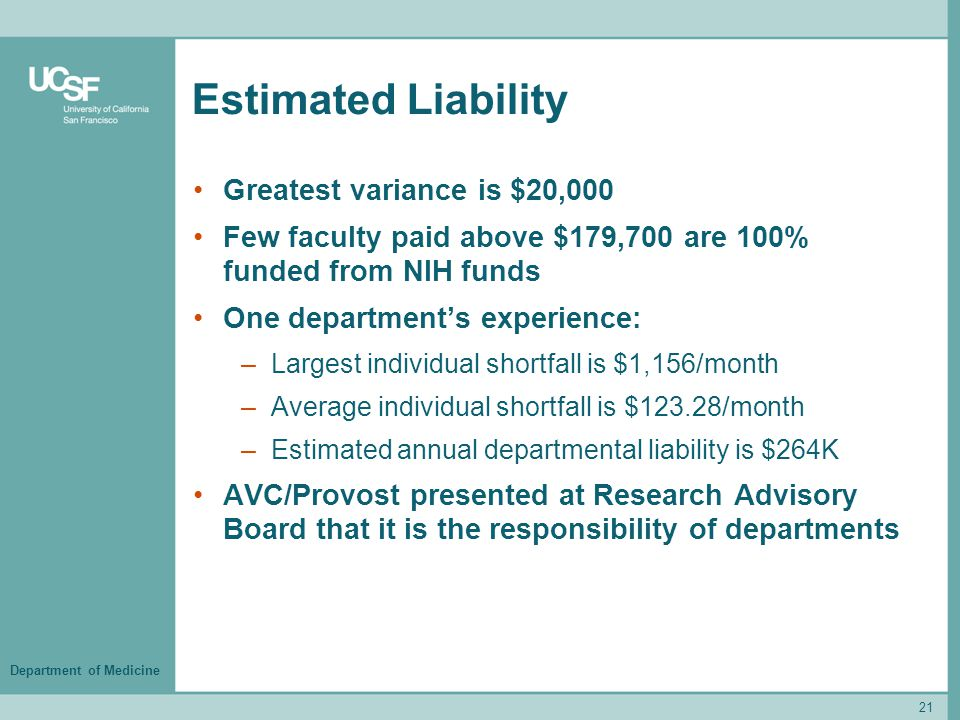Department of Medicine Estimated Liability Greatest variance is $20,000 Few faculty paid above $179,700 are 100% funded from NIH funds One department's experience: –Largest individual shortfall is $1,156/month –Average individual shortfall is $123.28/month –Estimated annual departmental liability is $264K AVC/Provost presented at Research Advisory Board that it is the responsibility of departments 21
