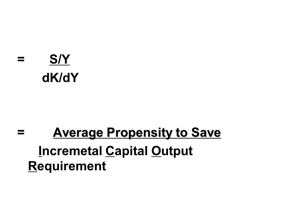 = S/Y dK/dY Average Propensity to Save = Average Propensity to Save Incremetal Capital Output Requirement