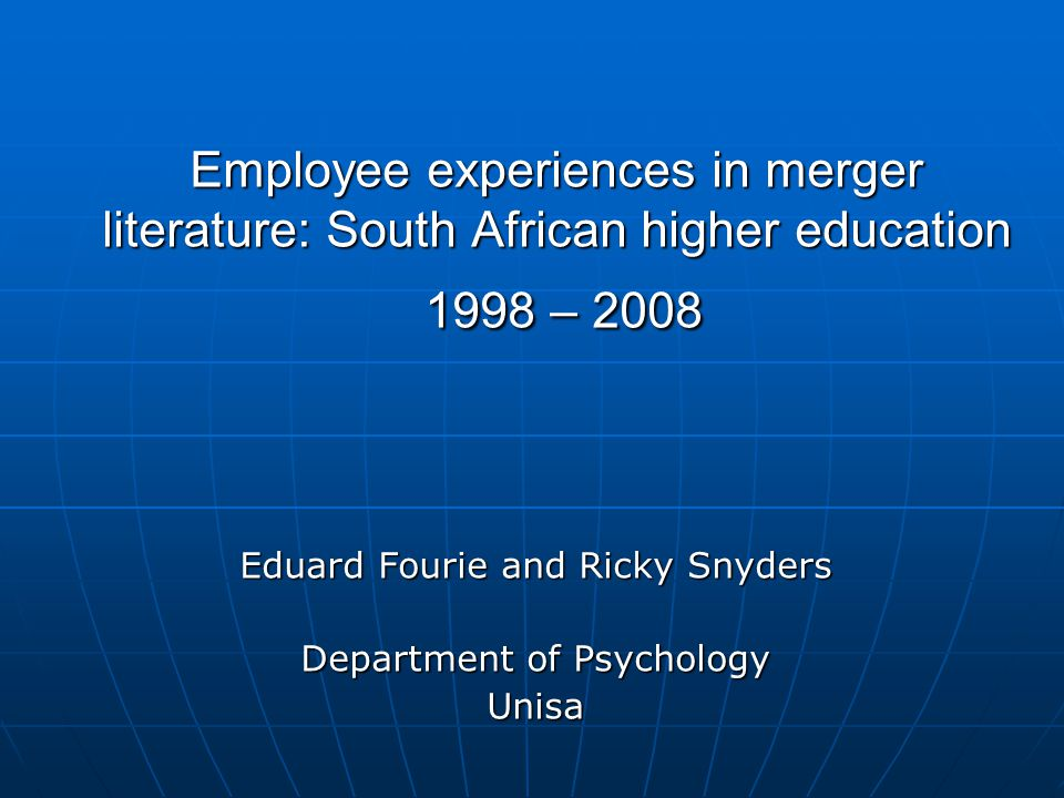 People's issues Mergers denote radical change – not only management, but the 'souls' of the partners are also affected (Skodvin 1999)
