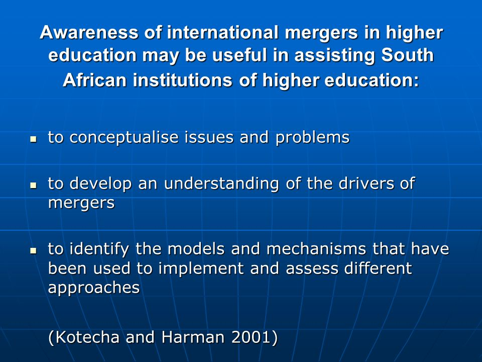 Main force behind mergers seems to be some kind of assumed gain (Harman and Harman 2003)