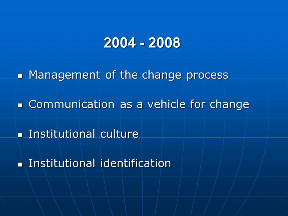 2004 - 2008 Management of the change process Management of the change process Communication as a vehicle for change Communication as a vehicle for change Institutional culture Institutional culture Institutional identification Institutional identification