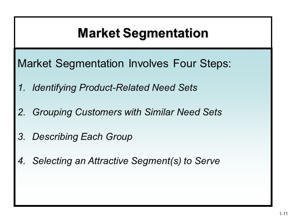 Market Segmentation Market Segmentation Involves Four Steps: 1.Identifying Product-Related Need Sets 2.Grouping Customers with Similar Need Sets 3.Describing Each Group 4.Selecting an Attractive Segment(s) to Serve 1-11
