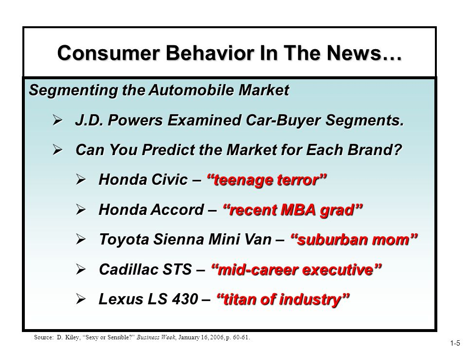 Consumer Behavior In The News… Segmenting the Automobile Market  J.D.
