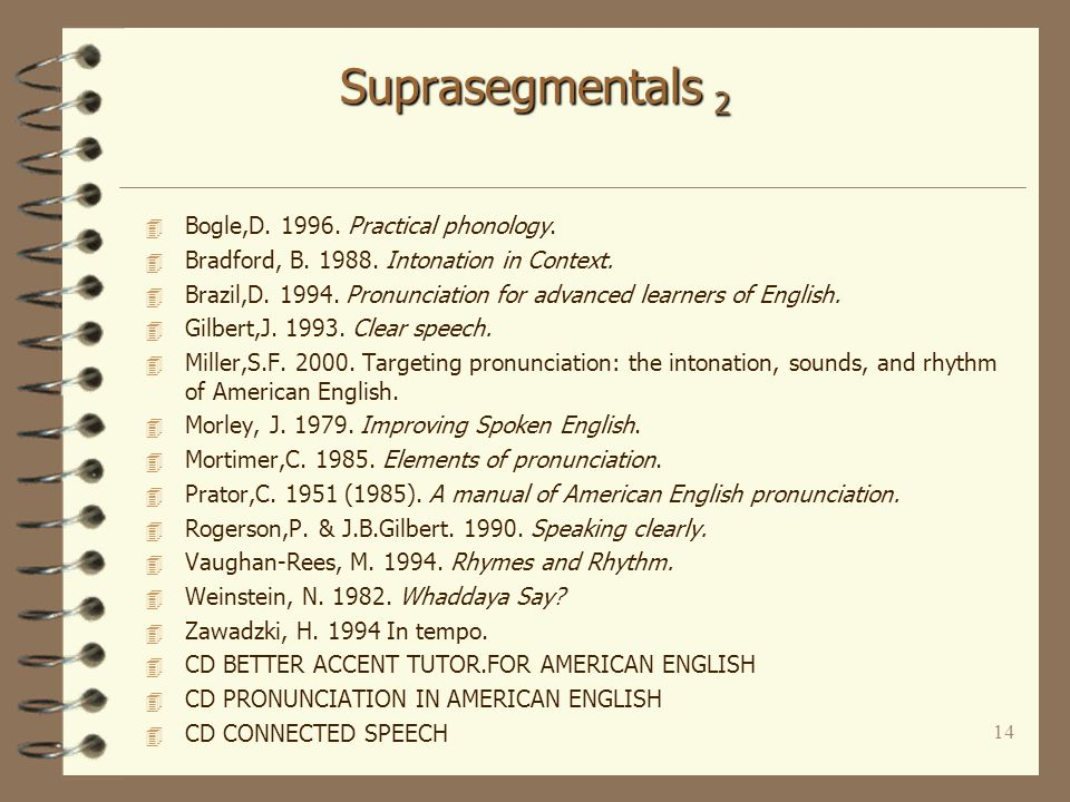 13 Suprasegmentals 1 4 Stress - (word stress, nuclear stress, unaccented syllables, schwa, weak forms) 4 Rhythm- (thought groups) 4 Intonation - (communicative function, discourse-based) 4 Secondary importance –Connected speech –Individual sounds - selected aspects »aspiration, voicing, consonantal contrasts, clusters »vowel duration »practised in the context of connected speech