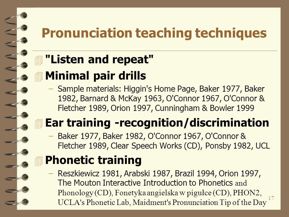 16 Pronunciation syllabi - common core features vs.