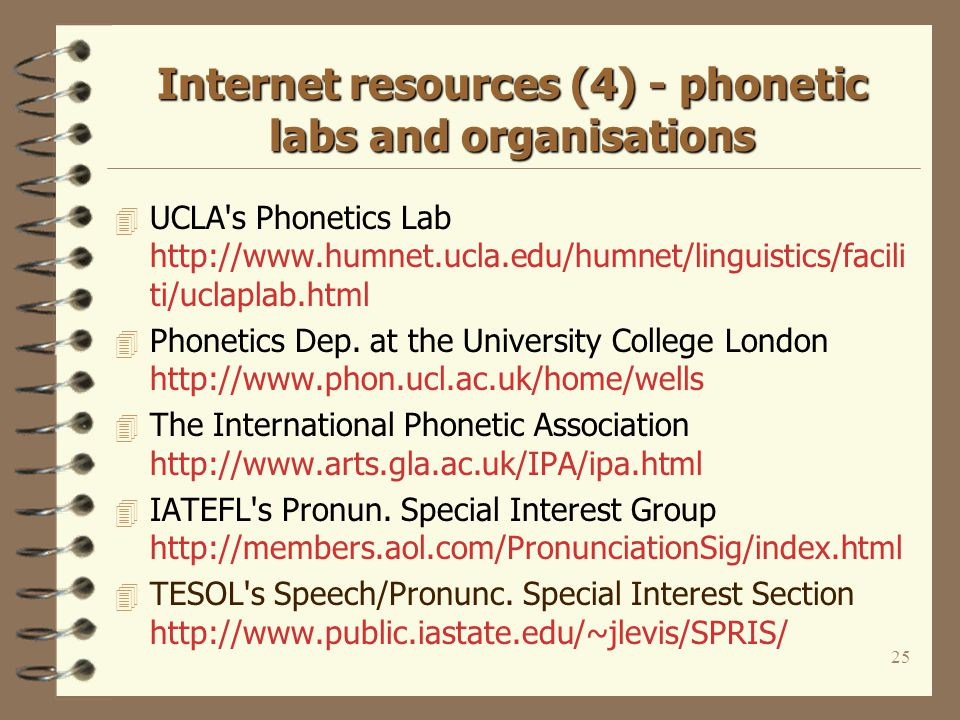 24 Internet resources (3) - practical activities on the Web 4 John Maidments Sound Machines http://www.eptotd.btinternet.co.uk/vm/soundmachin es.htm Vowel Machine Transcriber TONI PLATO 4 Web-based transcription tool http://www.wtt.org.uk 4 Sharon Windmayer s Sounds of English http://www.soundsofenglish.org