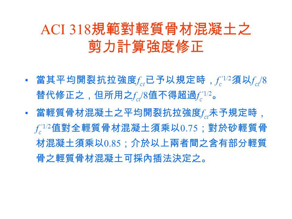 ACI 318 規範對輕質骨材混凝土之 剪力計算強度修正 當其平均開裂抗拉強度 f ct 已予以規定時, f c '1/2 須以 f ct /8 替代修正之,但所用之 f ct /8 值不得超過 f c '1/2 。 當輕質骨材混凝土之平均開裂抗拉強度 f ct 未予規定時, f c '1/2 值對