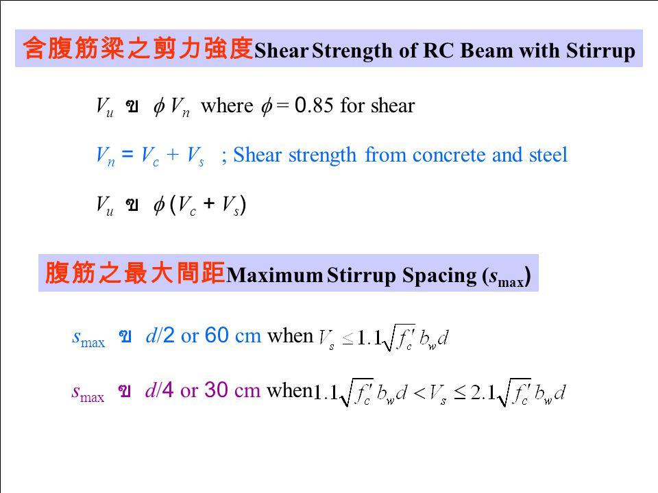 含腹筋粱之剪力強度 Shear Strength of RC Beam with Stirrup V u ฃ  V n where  = 0.85 for shear V n = V c + V s ; Shear strength from concrete and steel V u