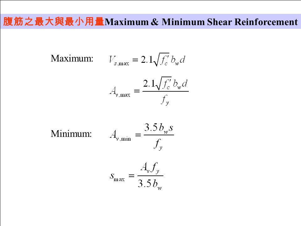 腹筋之最大與最小用量 Maximum & Minimum Shear Reinforcement Maximum: Minimum: