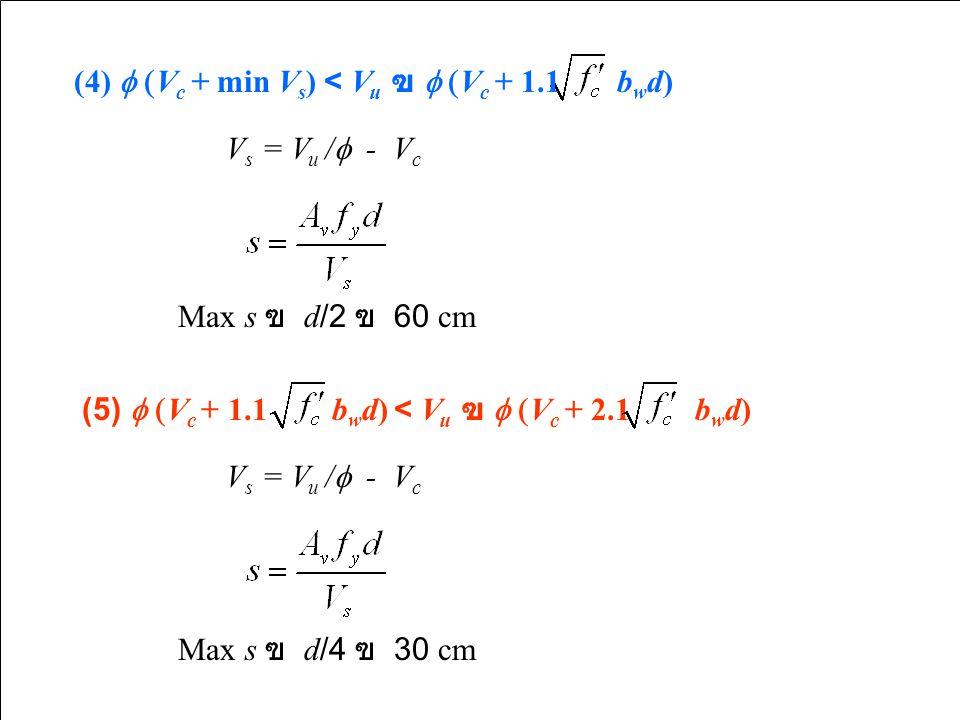 Max s ฃ  d/2 ฃ  60 cm (4)  V c + min V s ) < V u ฃ  V c + 1.1 b w d) V s = V u /  - V c (5)  V c + 1.1 b w d) < V u ฃ  V c + 2.1 b