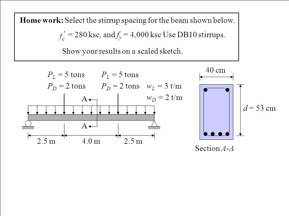 Home work: Select the stirrup spacing for the beam shown below. = 280 ksc, and f y = 4,000 ksc Use DB10 stirrups. Show your results on a scaled sketch