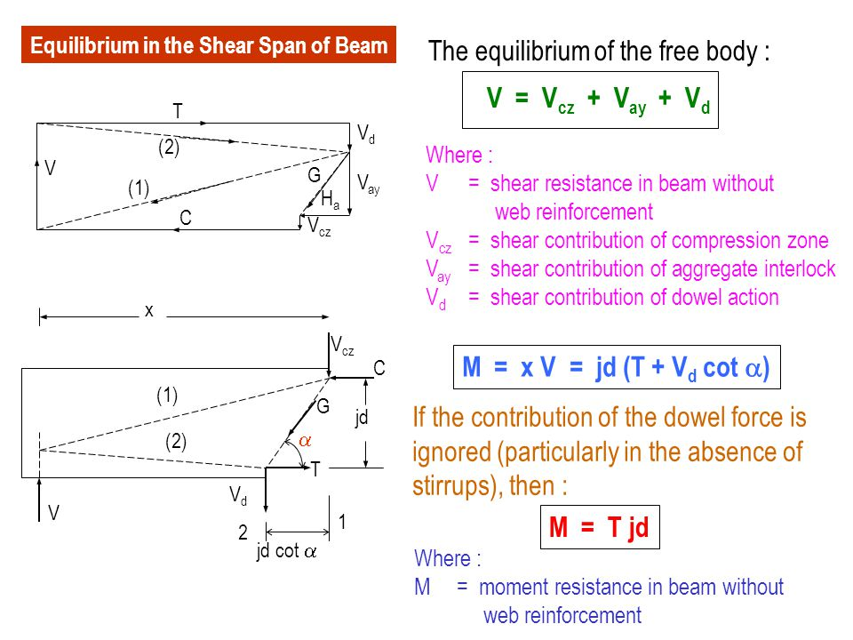 Variation of Shear Capacity Mid spanSupport d critical section w u L/2  V c  V c /2 wuwu  V n